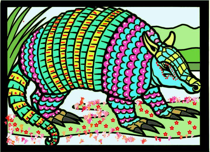 gs tatou colorier exemple de coloriage ralis lordinateur par un gs avec photoshop lments 2 - Coloriage Colorier